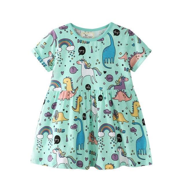 Unicornio verano niñas vestidos bebé niñas dibujos animados dinosaurio impreso verano vestido para niñas lindos animales rayas chica sudor vestido