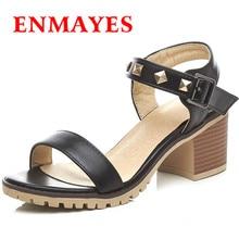 ENMAYLA New Women High Heels Fashion Autumn Soft Leather Casual Shoes Simple Black Women's Sandals Shoes Woman Size 34-42