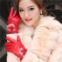 2018 женские перчатки с кроличьим мехом из искусственной кожи перчатки для зимних перчаток Брендовые женские варежки Luvas женские перчатки guantes mujer