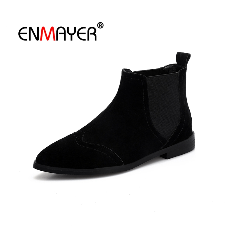 ENMAYER Ankle boots Winter boots Pointed toe Female Low heels Boots For Ladies Shoes women Zapatos Mujer Elastic band CR1591ENMAYER Ankle boots Winter boots Pointed toe Female Low heels Boots For Ladies Shoes women Zapatos Mujer Elastic band CR1591