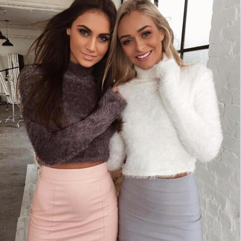 18 New Autumn and Winter Women Wool Cropped Jumpers Fluffy Mohair Sweater Mujer Pullover Sweaters Crop Top Black Pink 3