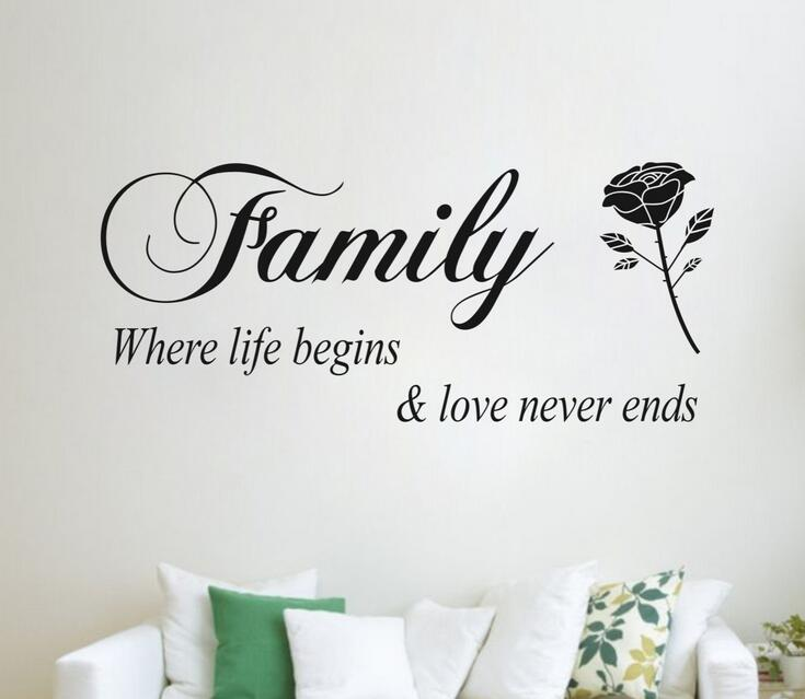 DIY Quotes Family A Link Letter Wall Sticker Kids Living Room Vinyl Bedroom Decoracion Children Wallpapers Home Decor Mural Door In Stickers From