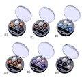 Hot 1Pcs 5 Colors Baked Eyeshadow Eye Shadow Powder Metallic Shimmer Warm Color Shadow Palette With Eyeshadow Brush Cosmetics