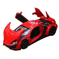 Collectible Fast & Furious Lykan Hypersport 1/32 Metal Alloy Diecast Cars Electronic Flashing Pull Back Cars Model Toys For Kids