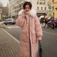 2019 Big Artificial Fur Long Parkas Winter Jacket Women Oversize Suede Coat Hooded Female Warm Winter Women Clothing Outwear