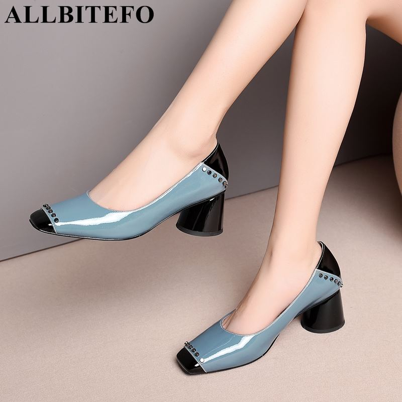 ALLBITEFO fashion brand rivets full genuine leather square toe high heels women high heel shoes thick