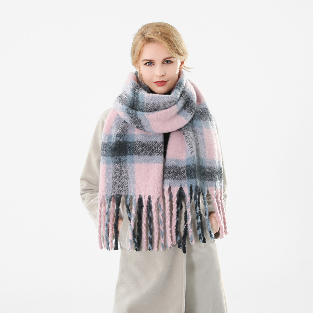 Image 2 - Winfox 2018 New Brand Winter Pink Grey Warm Tartan Plaid Cashmere Blanket Scarves Shawl Foulard Scarf For Womens Ladies-in Women's Scarves from Apparel Accessories