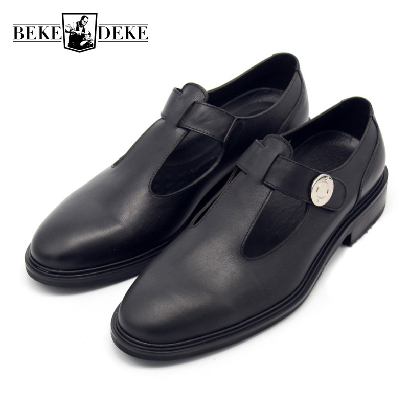 Italian Retro Mens Round Toe Block Low Heel Dress Sandals Hollow Out Runway Genuine Leather Male Shoes Gentleman Office Footwear color block belted high low dress