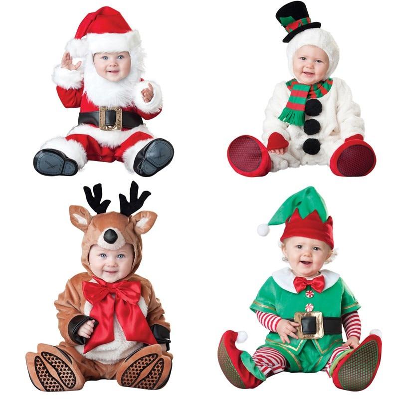 ФОТО newborn santa baby boy christmas clothing winter romper outwear deer boys new year costume jumpsuit sets suits unisex cap set