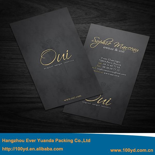 Luxe Personnalise Typographie Carte De Visite Impression Dorure A Chaud Or Argent Estampage Cartes