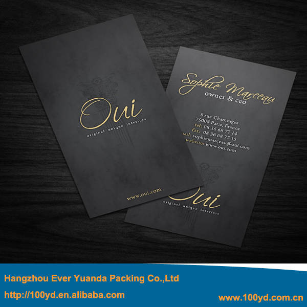 Luxury Custom Letterpress Business Card Print Hot Foil Gold Silver Stamping Visit Cards 300gsm Black
