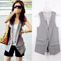The Newest Women Brand Black Sleeveless Single Botton Vest,Ladies OL Slim Coat