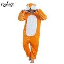 Kawaii Fox Kigurumi Onesie Animal мультяшная Пижама оранжевый белый мягкий  комбинезон для взрослых женщин зимний костюм празднич. 66af22f5d7514