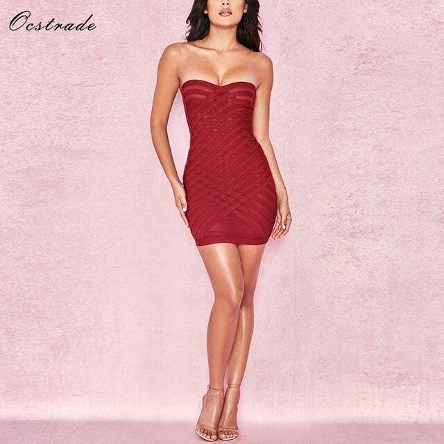 1dac0afe5ea1 Ocstrade Summer Women Bandage Dresses 2018 New Arrivals Raspberry Cross  Weave Strapless Sexy Bandage Dress Bodycon Mesh Mesh