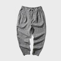 2017 Hot Sale Men S Style Breathable Linen Material Haren Plaid Large Size 9 Points Suitpants