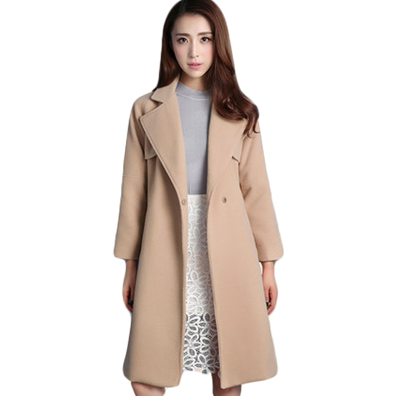 Lapel Collar Pure Color Woolen Coat Women Autumn Winter Slim Thickening Womens Wool Blend Clothing with Detachable Belt XH781