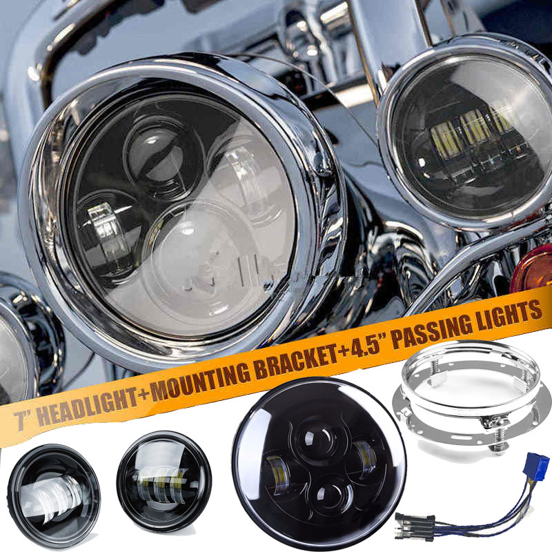 NEW 7 inch headlight led lamp halo headlamp H4 motorcycle moto DRL light 7 headlight Mounting Ring For Harley street glide