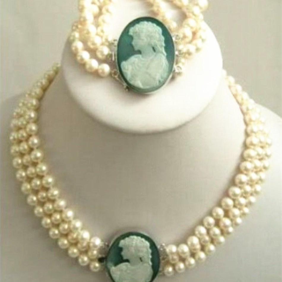 Free shipping fashion 3 rows 7-8mm natural white pearl beads necklace bracelet cameo clasp high grade party jewelry set YE2090