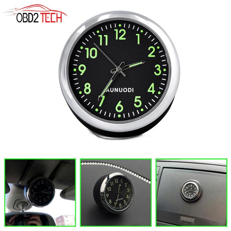 Car Dashboard Clock High Accuracy Mini Classic Vehicle Quartz Round Time Display Dash Clock Car Accessories for Car and SUV Ideal Gift Blue