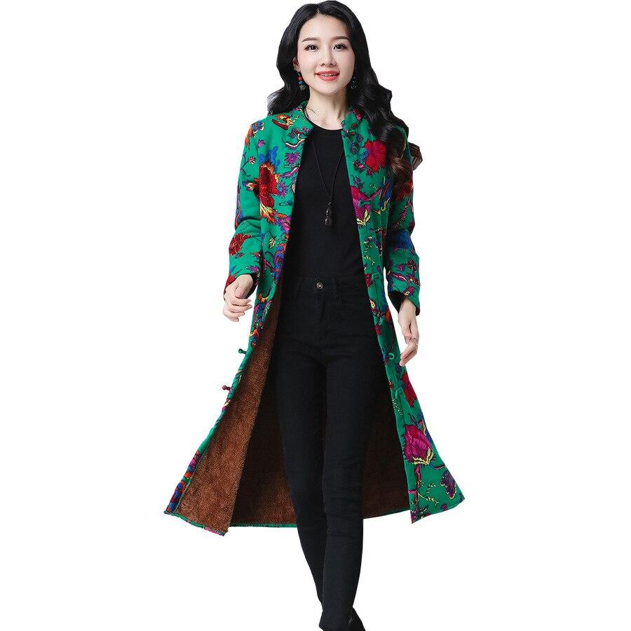 Frauen Lange Jacken Mäntel Vintage Floral Gedruckt Lange Hülse Mantel Frauen Jacke Outwear Retro Plus Größe Tops Frauen Kaminsims
