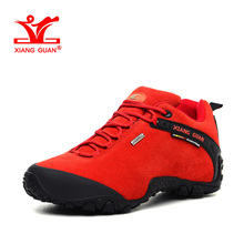 XIANGGUAN Woman Hiking Shoes Women Suede Athletic Trekking Boots Red Zapatillas Sports Climbing Shoe Outdoor Walking Sneakers
