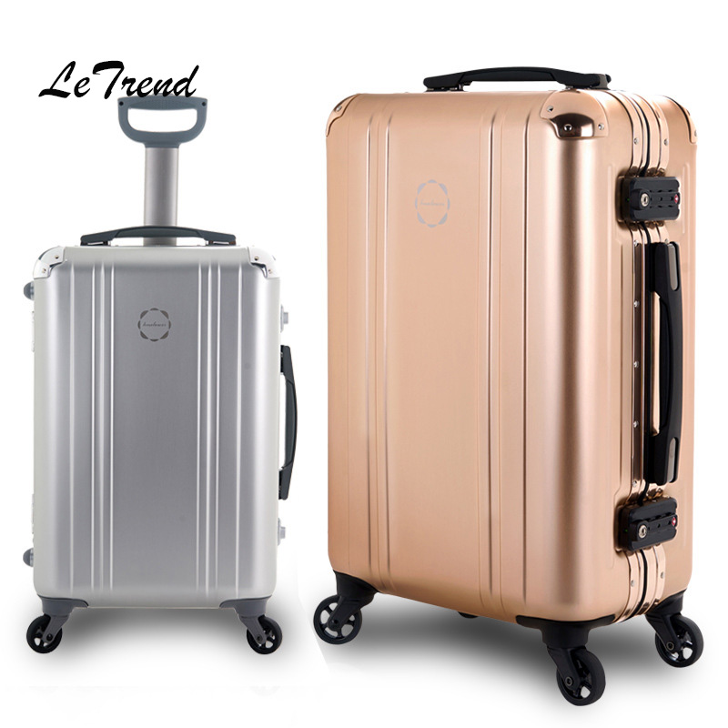 e9bfc347301 100% Aluminum-magnesium alloy Rolling Luggage Spinner 20 inch Cabin Wheel  Suitcase Luxury Trolley High-grade Travel bag