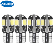 Aslent 4pcs T10 W5W Led Car Light 8SMD 5730 147 152 LED Replacement Bulb For Interior License Plate Lamp Warm White 6000K