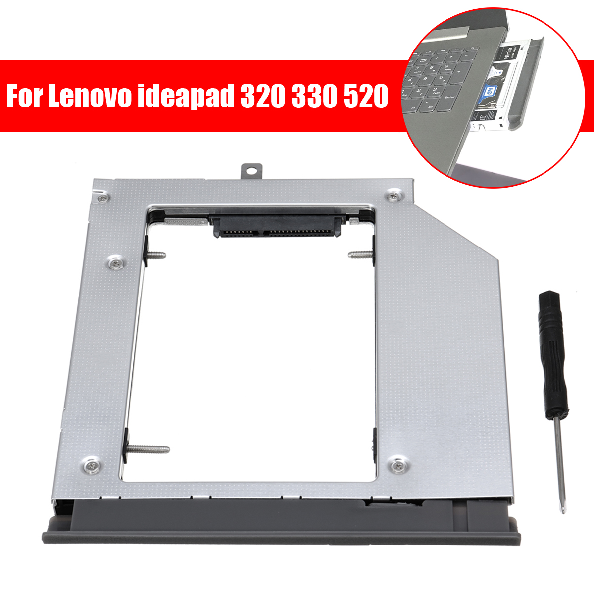 Notebook Hard Disk Drive 2nd HDD SSD Hard Drive Caddy For Lenovo ideapad 320 330 520 with Screwdriver