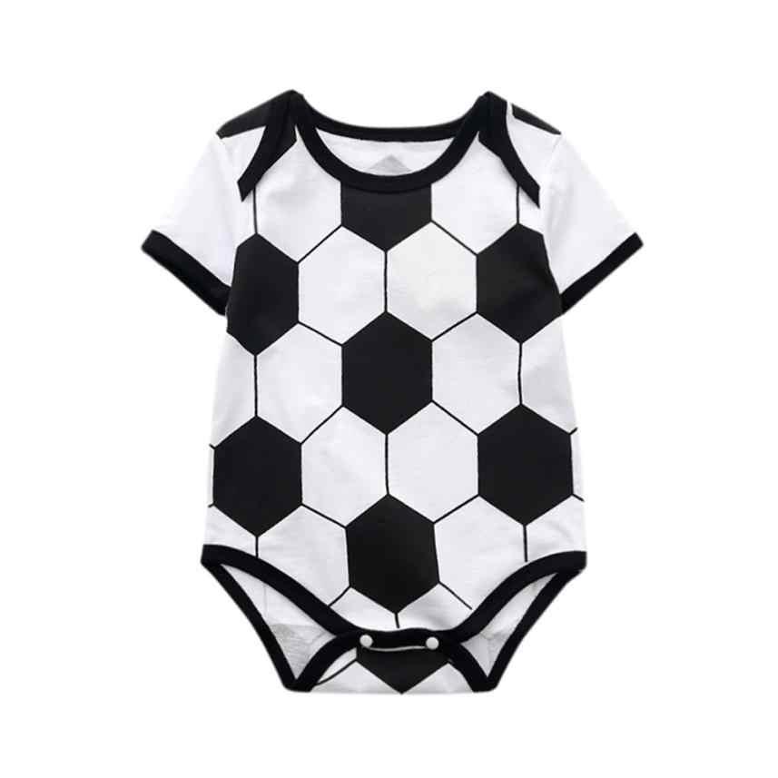 Bebé mamelucos unisex Patchwork fútbol imprimir una pieza Bebé Ropa de verano o-Cuello de manga corta ropa para niños niñas #1
