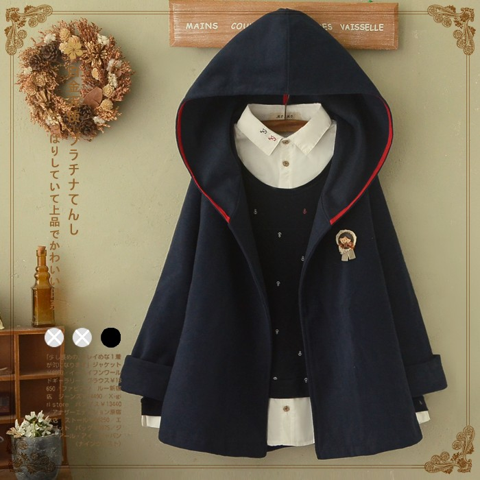 Mori Girl New Women's Autumn Sweet Loose Cute Cloak Solid Color Hooded Cartoon Batwing Sle