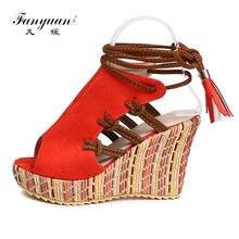 Fanyuan womens Wedge Platform Sandals high Heels Cross-tied Ankle-Wrap Sandals Summer Peep toe girls Beach Bohemian style shoes недорого
