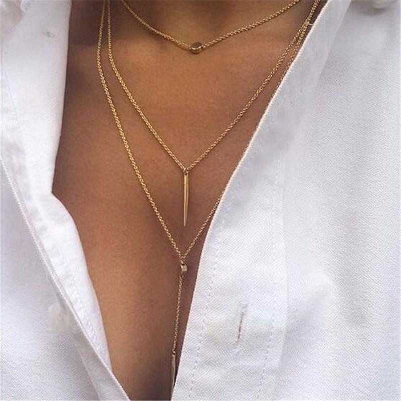 HTB19I8xOpXXXXbdaXXXq6xXFXXX9 Sexy Women's 3-Pendant Layered Chain Necklace