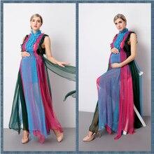 Реквизит для фотосъемки материнства лоскутное длинное платье шифон без рукавов Одежда для беременных для фотосессии