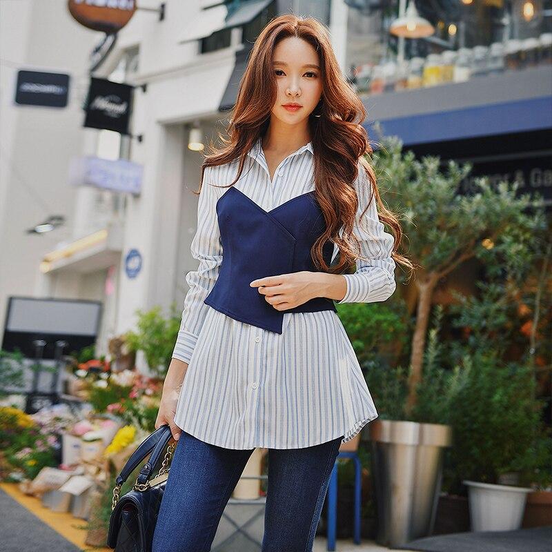 fb04695064 Top Costura Profesional Camisa Blusa Blanco Moda Slim A Azul Dabuwawa  Multiple Rayas Nueva Otoño Ol 2018 Mujer HqTdZx