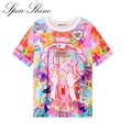 2016 Women'S T Shirts Harajuku Fuck Gradient Soft Doodle Short T-Shirt Tshirt Women Girl Tops Cute Cartoon Unicorn Pegasus