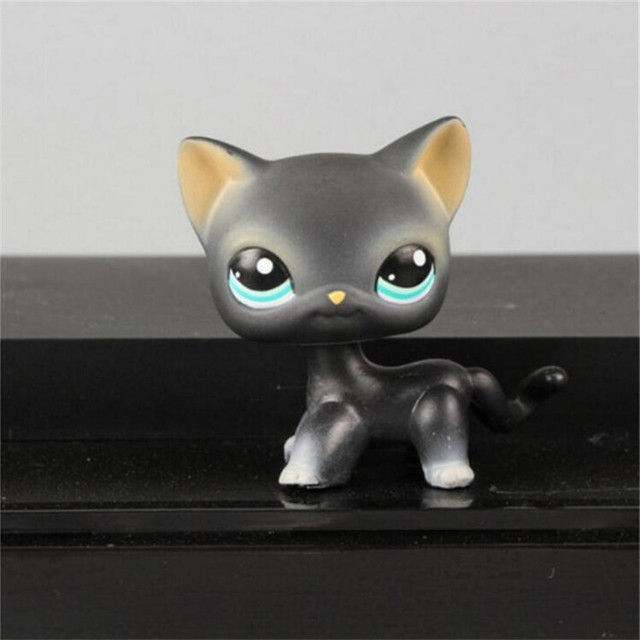 4-6cm Lps pet shop kawaii pvc gray blue eyes black yellow tiger short hair kitty anime pet action figure kids toys gifts