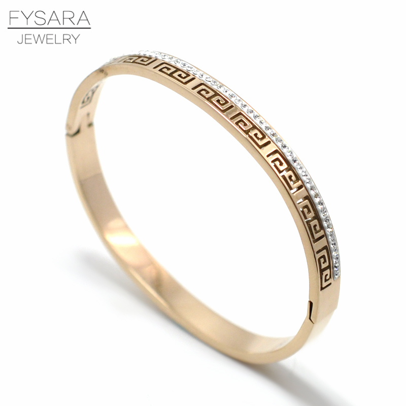 FYSARA Wedding Love Row CZ Full Crystals Bangles & Bracelets Greek key Great Wall Bangles Jewelry Stainless Steel Buckle Bangles