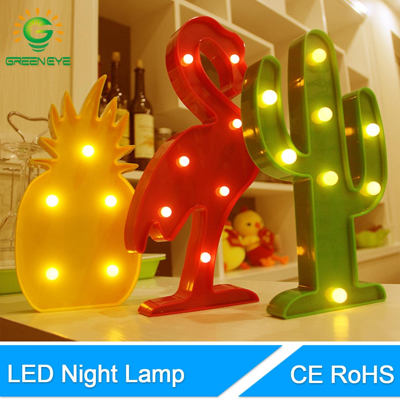 GreenEye Flamingo Pineapple Cactus Novelty LED Night Light Battery Powered Lamp Bulb Nightlight For Kids Bar Bedside Lamp Party