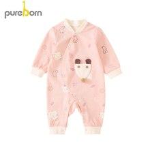 pureborn Unisex Baby Side-snap Long Sleeve Cotton Romper Newborn Infant Cartoon Fox Mouse Collar Baby Boy Girl Clothes One-Piece