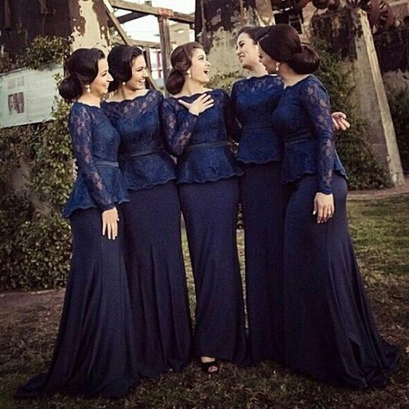 Hot 2015 Long Sleeves Lace Mermaid Bridesmaid Dresses Bateau Floor ...