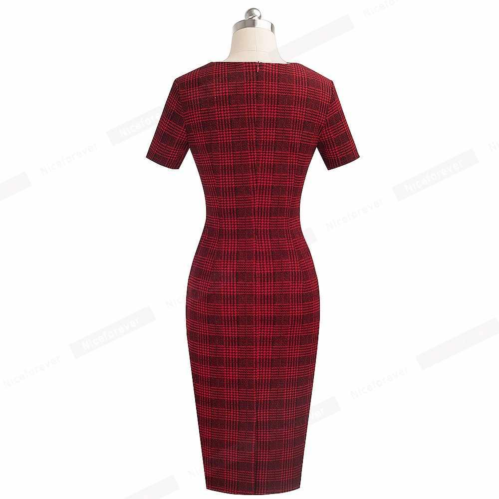 Хорошее-Forever элегантное женское офисное платье в клетку с принтом, деловые вечерние платья, облегающее женское офисное платье, B537