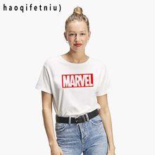 9386cce7586 2018 harajuku футболка женская MARVEL Футболка женская хлопковая с  короткими рукавами Повседневная мужская футболка marvel футболки