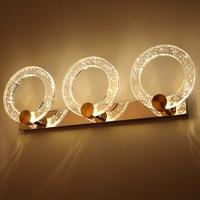 Novelty Makeup Led Ring Wall Sconce Crystal Mirror Wall Lamps Waterproof Indoor Wall Lights Bathroom Bedroom Hotel Coffee Shop