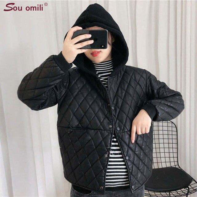 Oversized Hoodie Lozenge Winter Leather Jacket Women Bomber Jacket Moto  Coat jaquetas couro Casaco chaquetas Jacket 2018 New 009ff083aed07