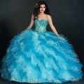 Elegante Doce 16 Vestidos Para Meninas Sexy Cristal Querida Vestidos de Baile de Tule Vestidos De 15 Años Barato Vestidos Quinceanera 2016
