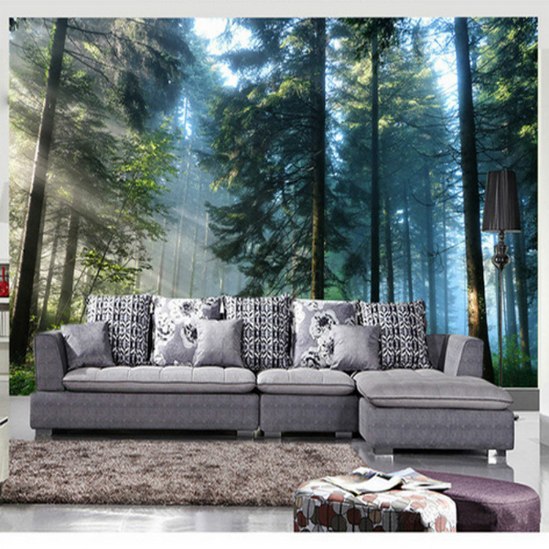 Custom 3D stereoscopic TV backdrop sofa 3D wallpaper living room non-woven 3D wallpaper green woods landscape large mural custom 3d stereoscopic large mural wallpaper wall paper living room tv backdrop of chinese landscape painting style classic