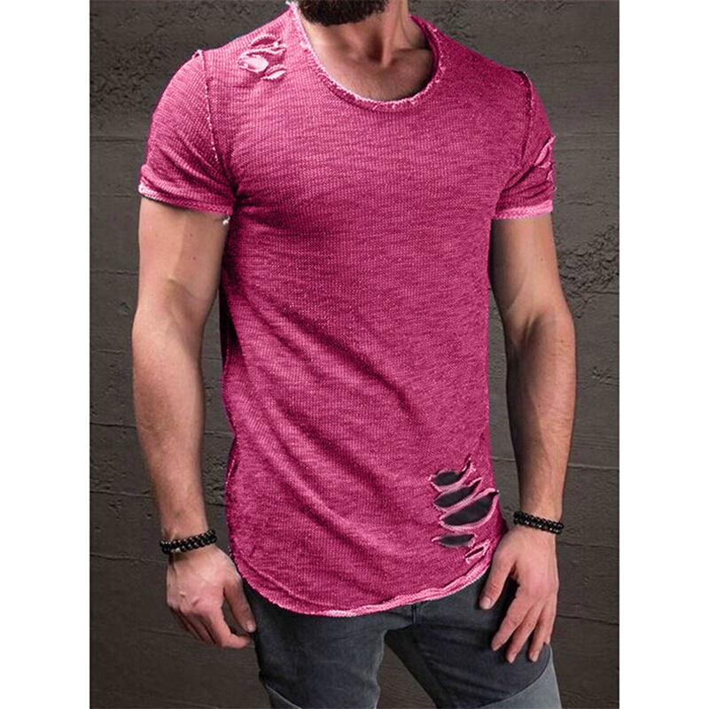 Hole ripped t shirts mens short sleeve t-shirt fitness bodybuilding mens funny black tshirt streetwear size plus slim tops 4xl