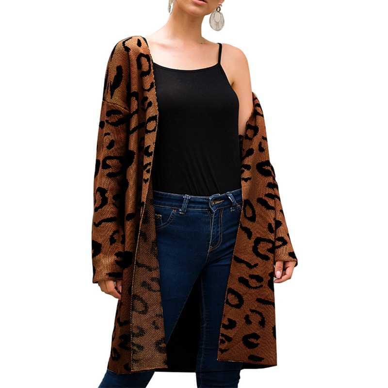 NIBESSER 2019 длинный кардиган, свитер с леопардовым принтом, длинный рукав, трикотажный женский свитер, осенний свитер Harajuku Sueter Mujer
