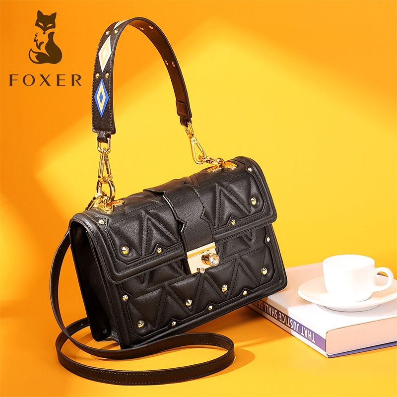 FOXER Brand Women Leather Handbags Lady Shoulder Bag Simple & Fashion Crossbody Bags for Female Classic High Quality Bags foxer brand women s leather handbag fashion female totes shoulder bag high quality handbags