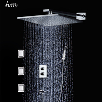 Hm 3 Jets Thermostat Shower Kit Wall Mounted Embedded Box 10 Air Booster Shower Head Saving